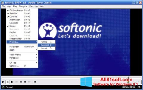 Screenshot Media Player Classic untuk Windows 8.1