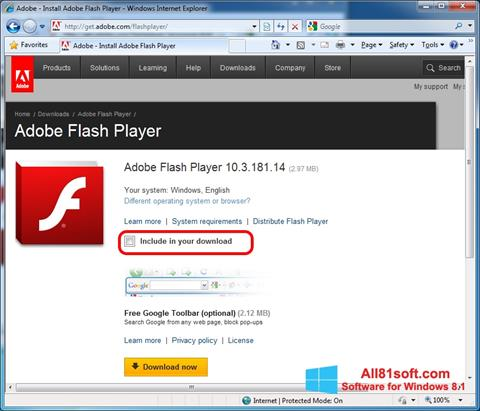 Screenshot Adobe Flash Player untuk Windows 8.1