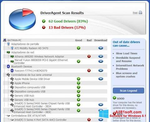 Screenshot DriverAgent untuk Windows 8.1