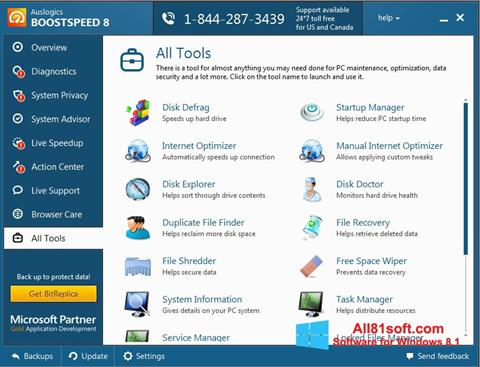 Screenshot Auslogics BoostSpeed untuk Windows 8.1