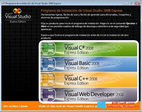Screenshot Microsoft Visual Studio untuk Windows 8.1