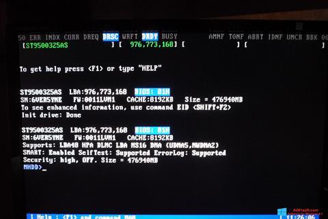 Screenshot MHDD untuk Windows 8.1