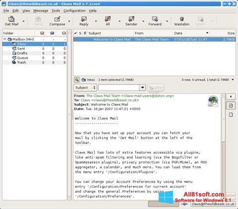 Screenshot Claws Mail untuk Windows 8.1