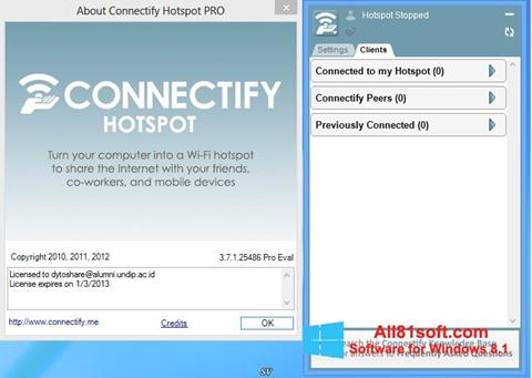 Screenshot Connectify Hotspot untuk Windows 8.1