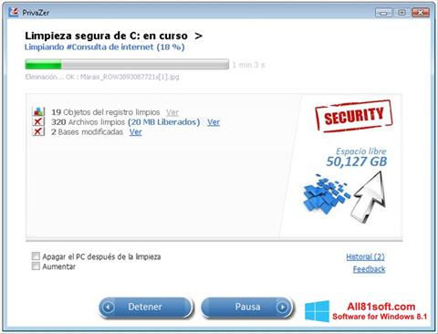 Screenshot PrivaZer untuk Windows 8.1