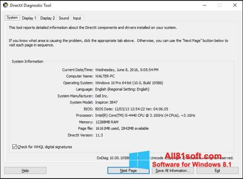 Screenshot DirectX untuk Windows 8.1