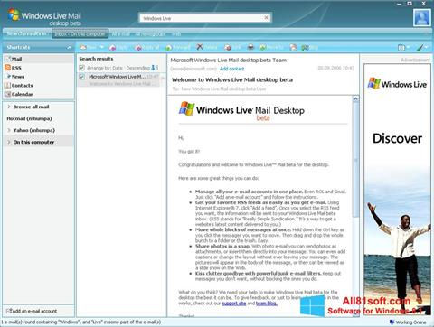 Screenshot Windows Live Mail untuk Windows 8.1