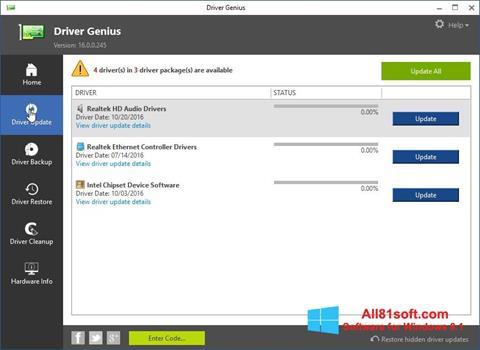 Screenshot Driver Genius untuk Windows 8.1