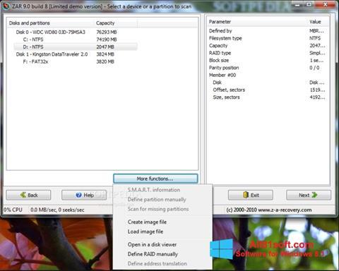 Screenshot Zero Assumption Recovery untuk Windows 8.1