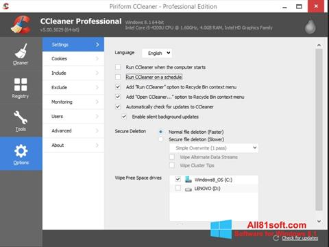 Screenshot CCleaner untuk Windows 8.1