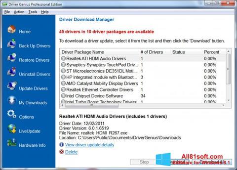 Screenshot Driver Genius Professional untuk Windows 8.1