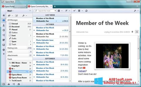 Screenshot Opera Mail untuk Windows 8.1